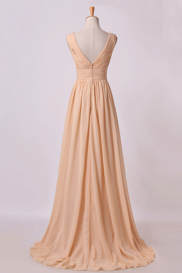 Bridesmaid Dress V Neck A Line Floor Length Chiffon With PG8TQ3KP