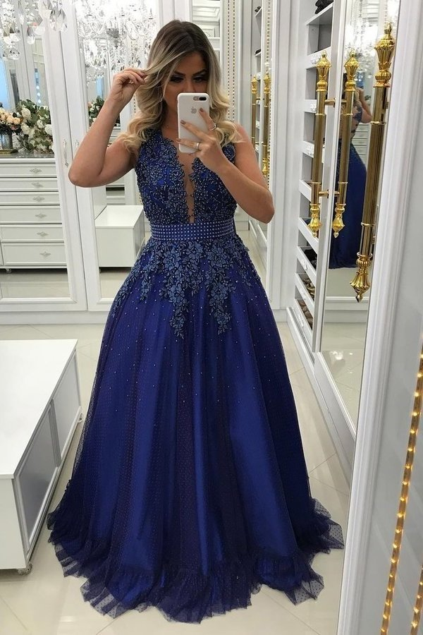 A Line Scoop Tulle Prom Dresses With Applique PPGDM2DF