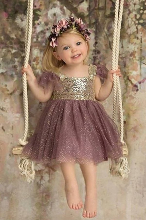 Bling-Bling Flower Girl Dresses Square Tulle PZ18EM4H