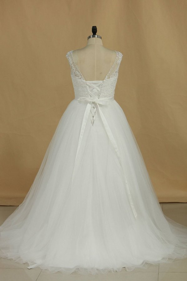 A Line Wedding Dresses Scoop With Applique And PQTJD28A