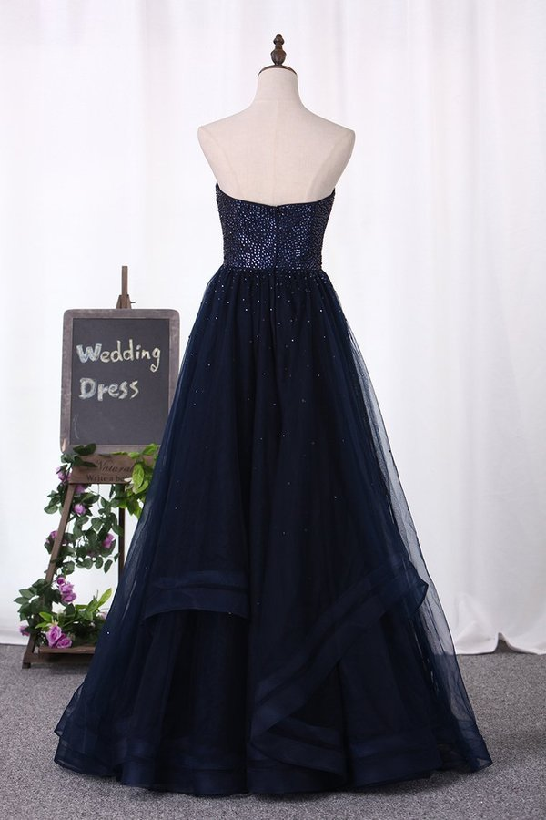 A Line Sweetheart Beaded Bodice Tulle Floor Length PTPMPQC6