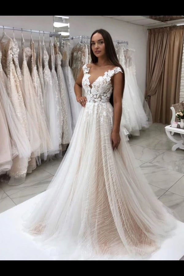 Timeless Lace Sparkly Sequins Tulle A-Line Wedding Dress With Appliques P1BP7YZY