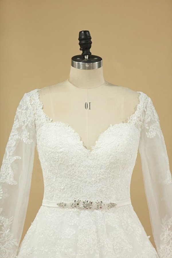 A Line Long Sleeves Wedding Dresses Tulle With Applique And Sash Sweep PA3KBB8E