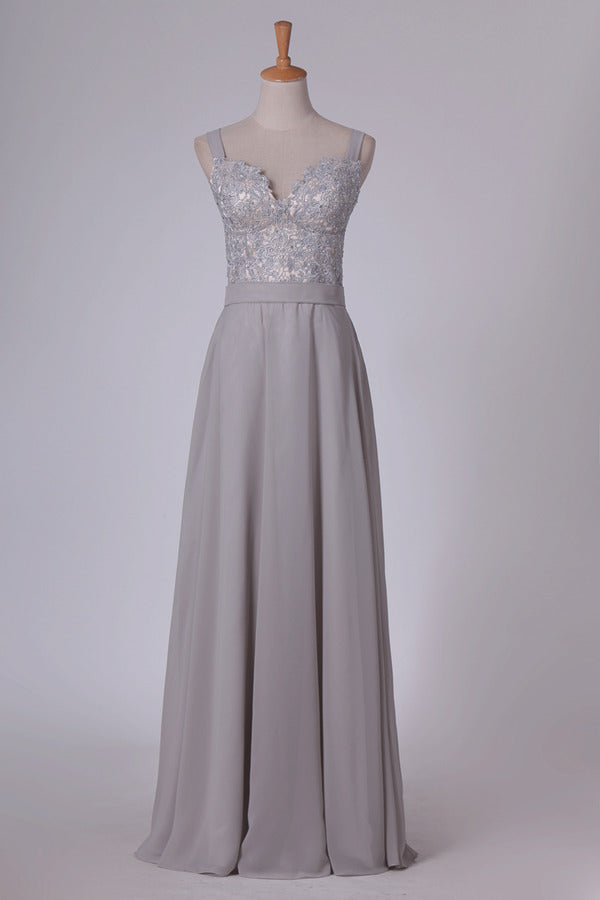 A Line Straps With Applique Chiffon Sweep Train Prom PAXY2ELA