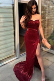 Sexy Strapless Split Mermaid Prom Dresses Charming Sweetheart Shiny PA2RE83J
