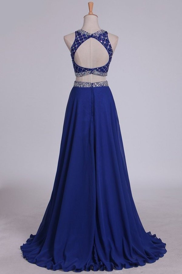 Two Pieces Bateau Open Back Prom Dresses A Line Chiffon & Tulle Dark PYPN18GM