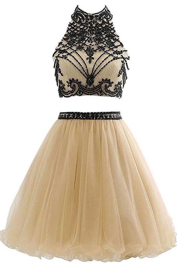 High Neck Open Back Tulle With Beading Homecoming Dresses PA1C3FYZ