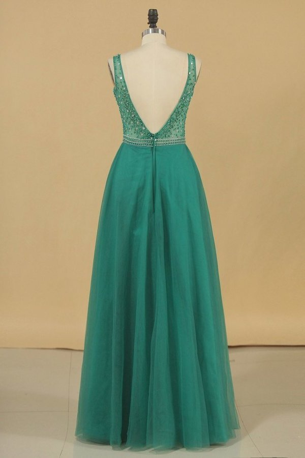 A Line V Neck Prom Dresses Tulle With Beading Floor PPTZ451Y