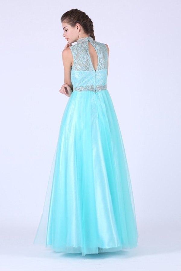 High Neck Prom Dresses Tulle & Lace With Beading PX4LGH6E