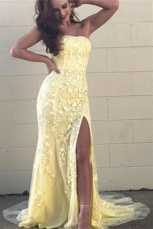 Yellow Mermaid Strapless Lace Appliques Prom Dresses with Slit, Evening STI20475