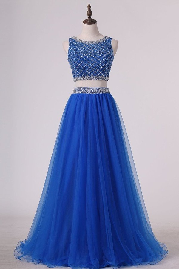 Two Pieces Bateau Prom Dress Beaded Bodice A Line Tulle PMCJXJRX