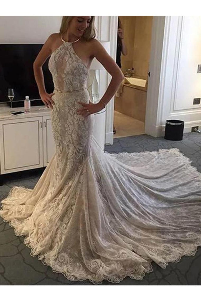 Halter Mermaid Lace Sleeveless Wedding Dress With STIP8XSP72Y