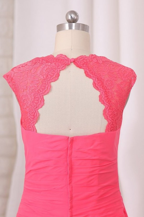 Square Sheath Chiffon & Lace Floor P5BTFH59