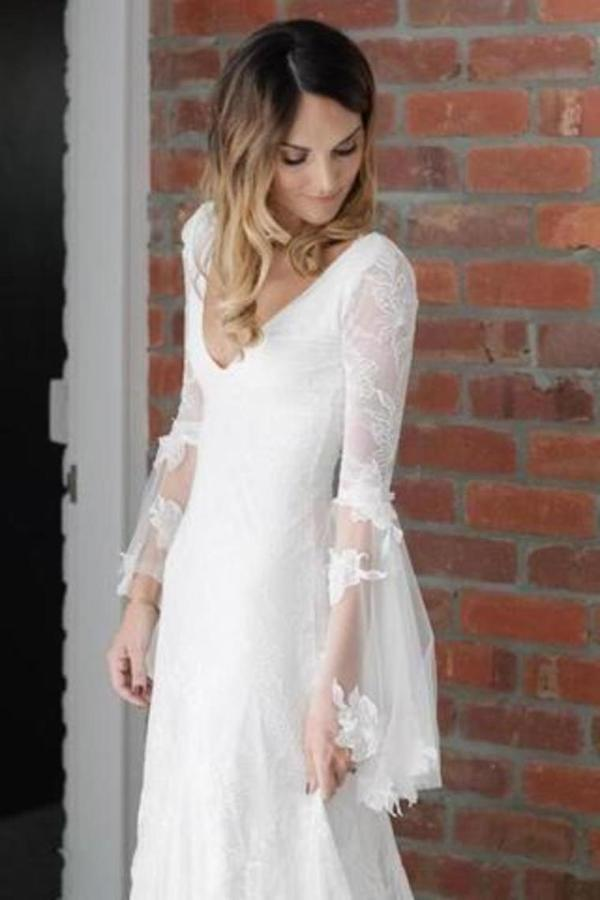 V Neck Beach Wedding Dress With Long Sleeves Unique Lace PLXCEDCY