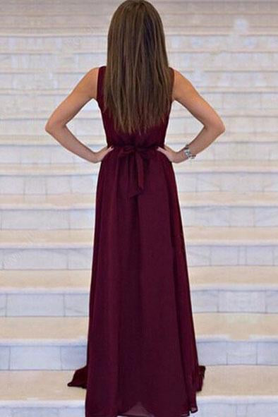 Simple A-line V-neck Chiffon Sweep Train Burgundy Sleeveless Sashes Prom Dresses