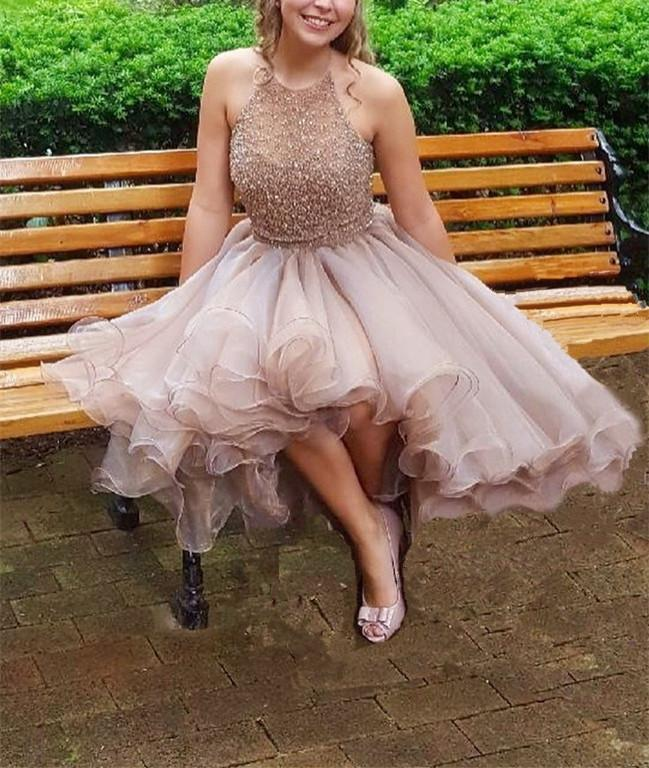 Modest Halter Short Beaded Tulle Cute Mini Homecoming Dresses