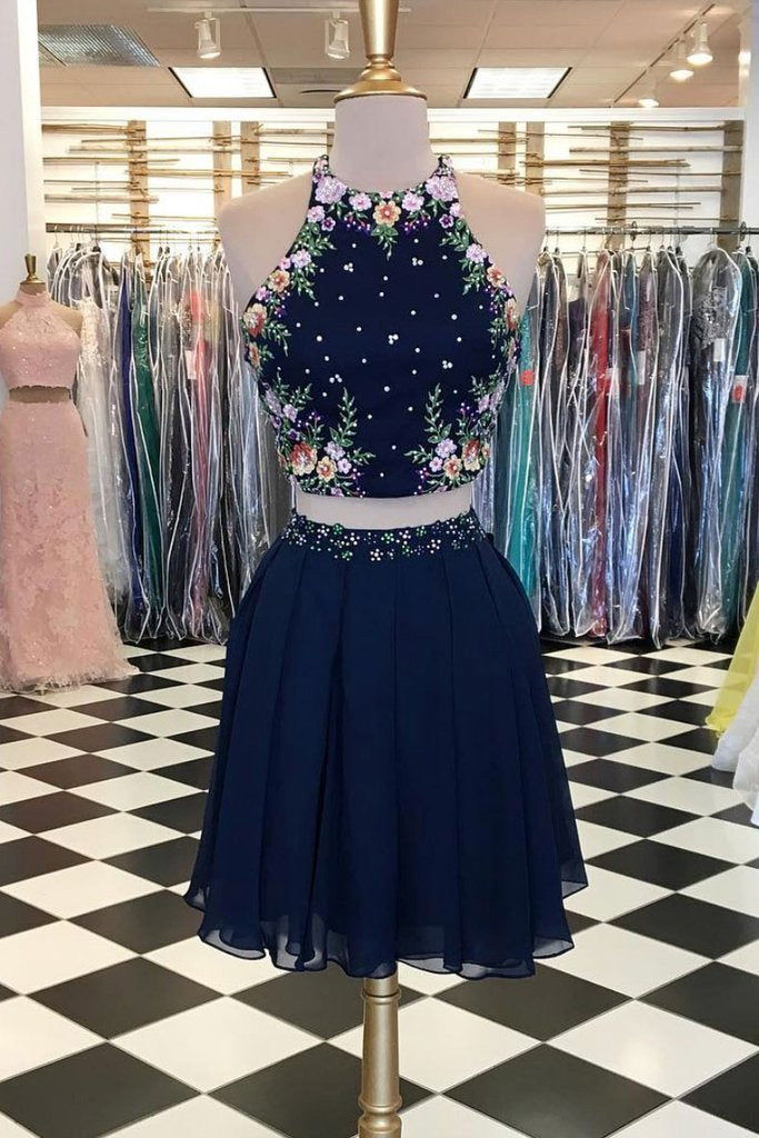 Unique Dark Blue Two Piece Short Prom Dress Halter Flowers Chiffon Homecoming Dresses