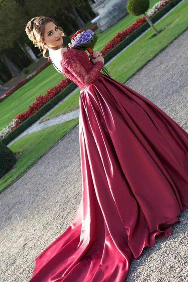 Long Sleeves Off the Shoulder Burgundy Sweetheart Satin Lace Ball Gown Prom Dresses