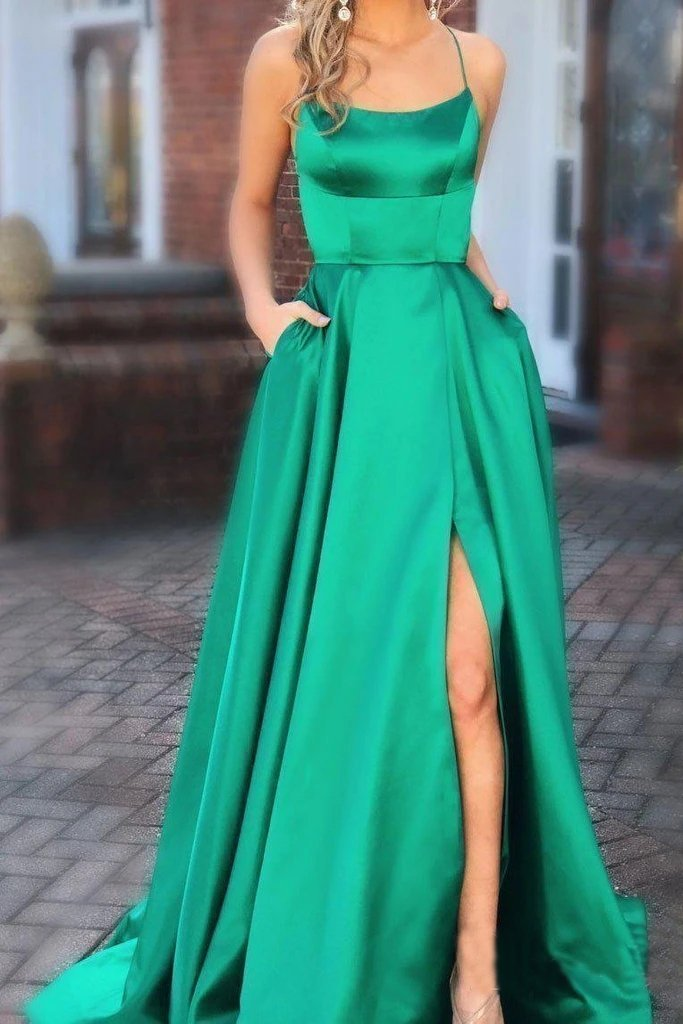 Elegant A Line Green Lace up Prom Dresses with Pockets Slit Formal Evening STI15634