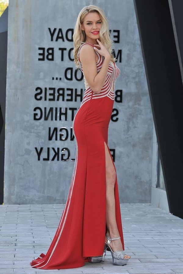 Straps Mermaid Spandex Prom Dresses With P1TNEHRN