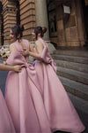 Ball Gown High Neck Satin V Neck Bridesmaid Dresses with Bowknot, Wedding Party Dress STI15559