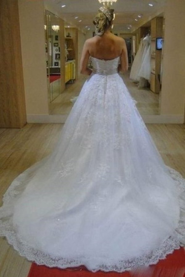 Sweetheart Zipper Back Long Ivory Wedding Dresses Dresses P79Q2YKE