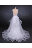 Unique V Neck Sleeveless Tulle Wedding Dresses Asymmetrical Long PHPYHEPM