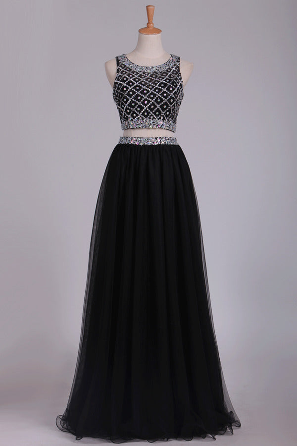 Two Pieces Prom Dress Bateau A Line Tulle With Beading PQ4MCRQY