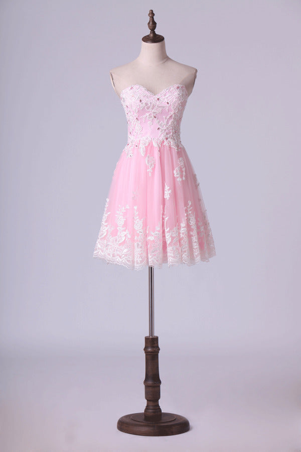 Sweetheart A-Line Homecoming Dresses Tulle With Applique P8DG2QY9