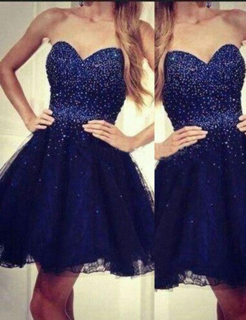 Modern Sweetheart A-line Beading Navy Blue Short Homecoming Dress