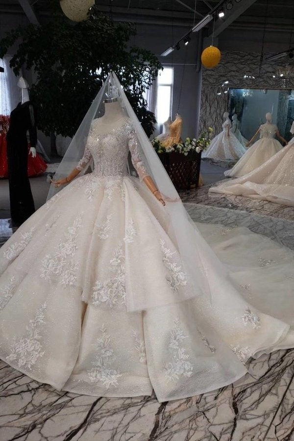 Ball Gown Lace Up Back Cathedral Train Wedding P7T913ZR