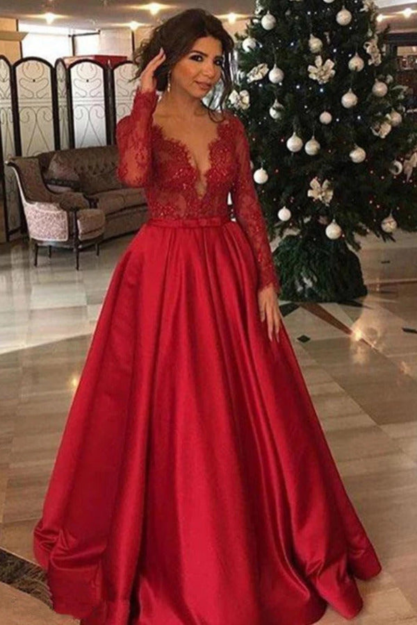 Elegant Long Sleeve Red Lace Beads Long Prom Dresses A Line Satin PNQ8TD5P