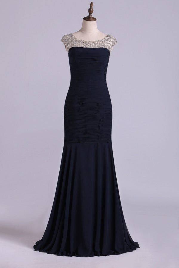 Bateau Prom Dresses Mermaid Chiffon Floor Length With P5Z8MMKR