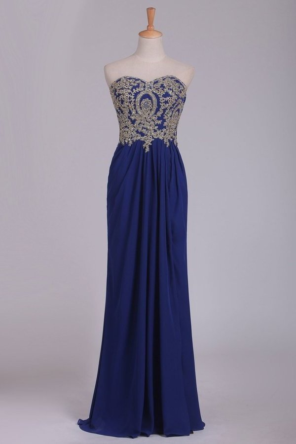 Sweetheart Prom Dresses A Line With Applique & Beads PKBYXDA6