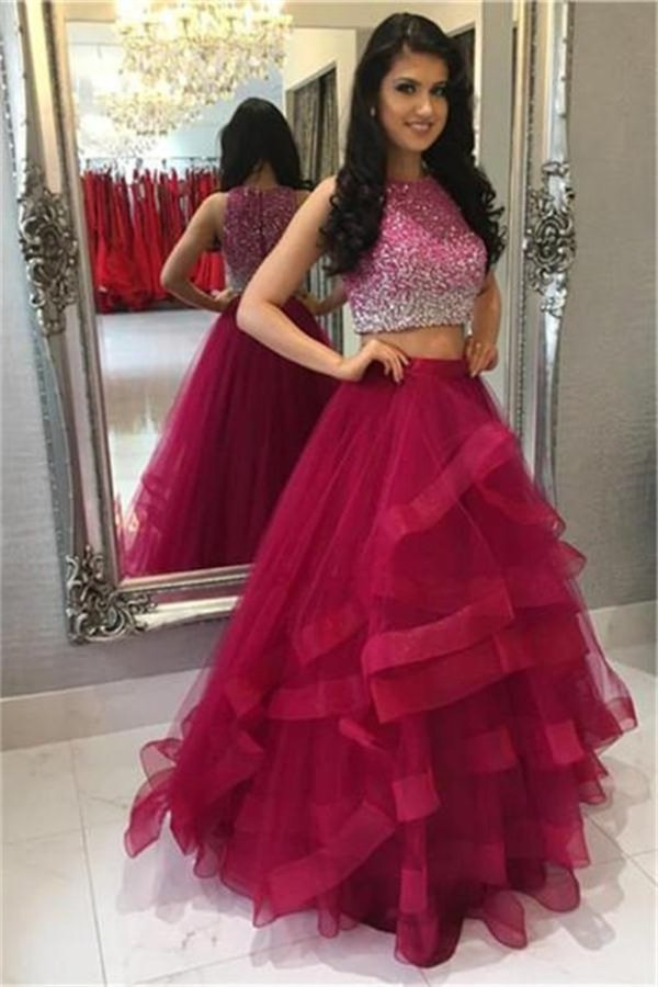 Modest 2 Pieces Beading Tulle Red Long Prom Dresses PL5BSL91