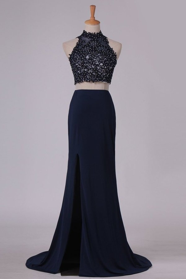 Two-Piece High Neck Open Back Sheath Prom Dresses Spandex With Beads P66C1B1N