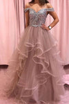 Elegant Rhinestones Layered Off the Shoulder Prom Dresses, Rose Pink Tulle Party Dresses STI15196