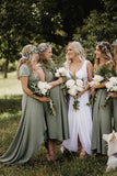 Simple V Neck Green A line Bridesmaid Dresses, Cheap Wedding Party Dresses STI15599