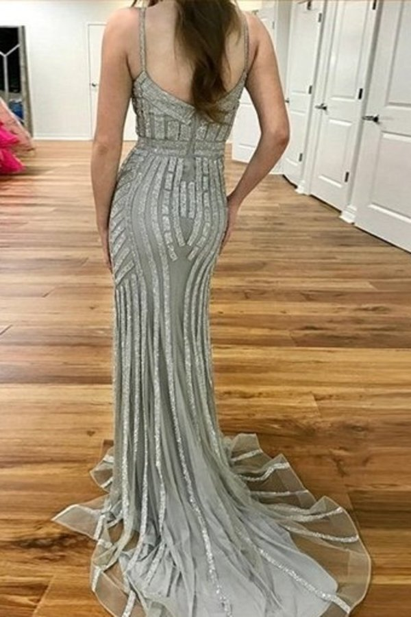 Sparkly Long Sheath Mermaid Spaghetti Straps Prom Dresses P3CCJGE9