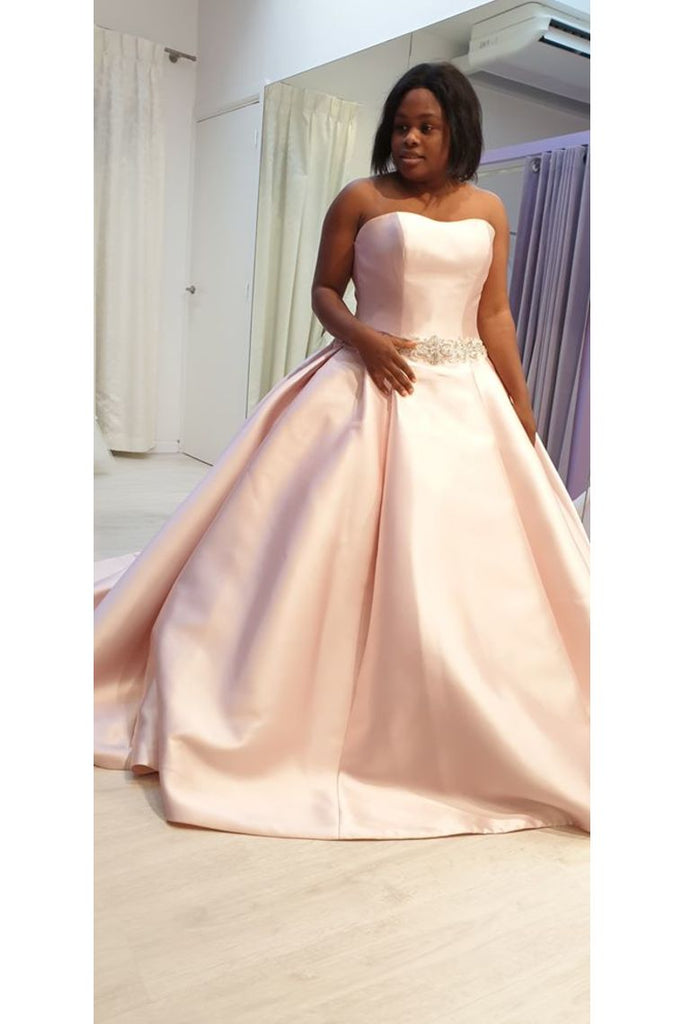 Wedding Dresses Strapless Satin A Line With STIP9LAL4E5