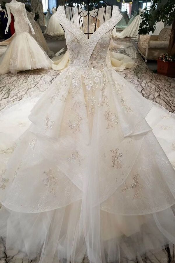 Champagne Wedding Gown V Neck Royal Train Handmade Beading Lace PQNX3KNC