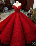Ball Gown Red V Neck Long Off the Shoulder Prom Dresses, Quinceanera Dresses STI15563