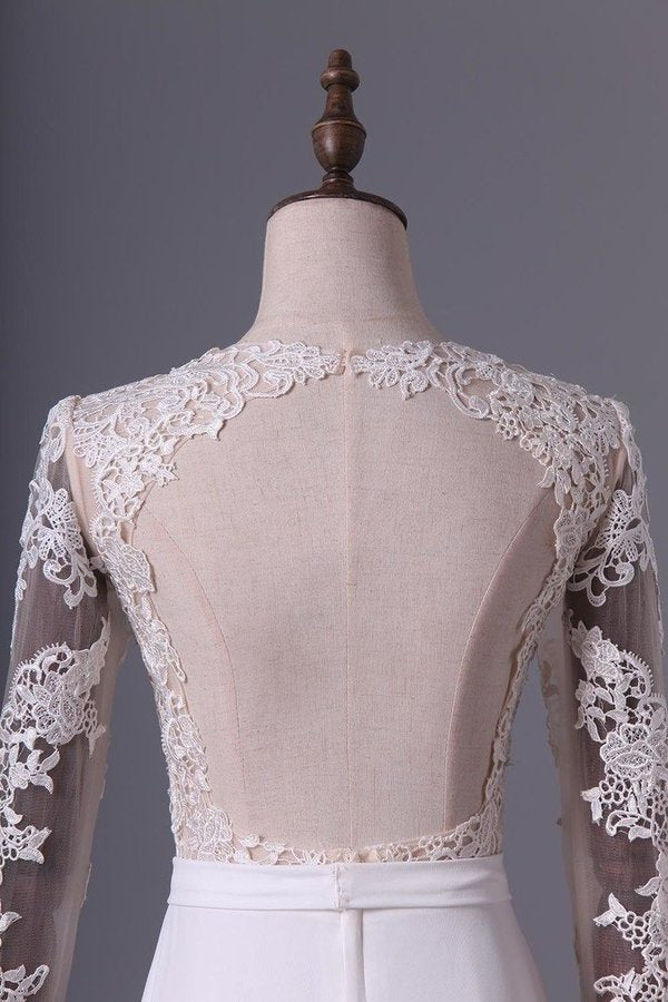 Wedding Dresses Scoop Long Sleeves With Sash Sweep P8TBNJ5Y
