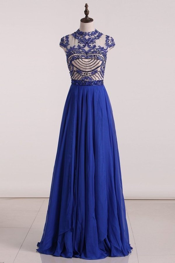 Scoop Prom Dresses Chiffon A Line With Beading Cap PMTLPSRZ