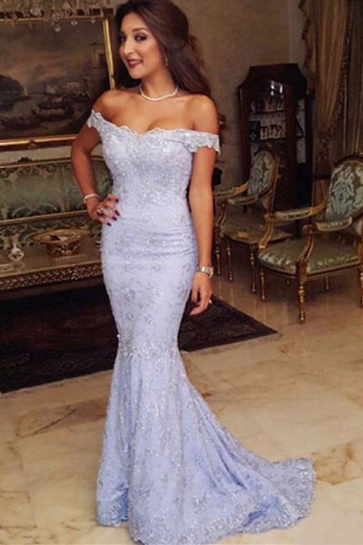Off Shoulder Lace Floor Length Prom Dresses Evening