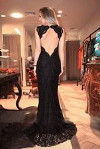 V-neck Black Lace Long Split Prom Dresses Evening Dresses