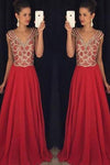 Red V-neck Beading Bodice Long Chiffon Prom Dresses Evening Dresses