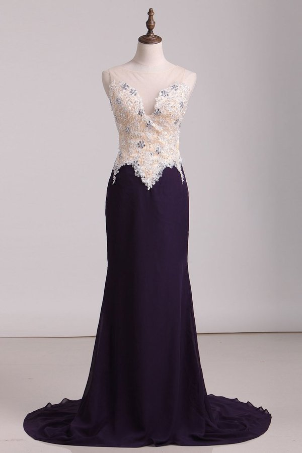 2020 Scoop Mermaid Prom Dresses With Beads & Applique Sweep PXY9LQ3Y