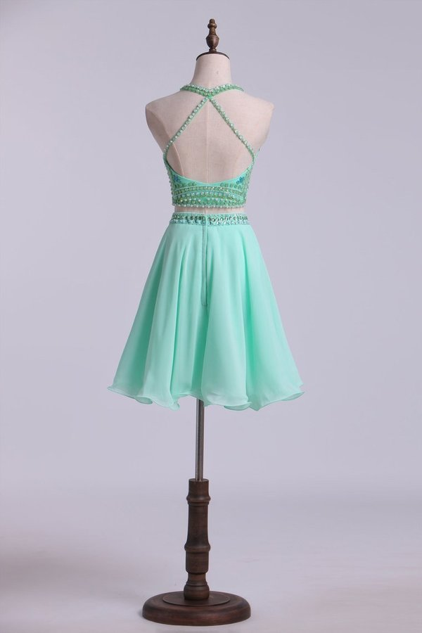 Two-Piece Halter Short Homecoming Dresses Chiffon PCX3Z2DG