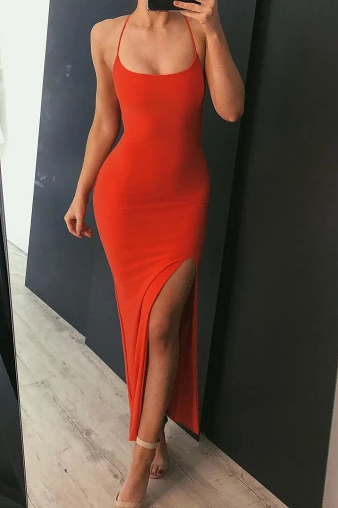 Sexy Red Mermaid Prom Dresses, V Neck Side Slit Formal Graduation Evening Dresses STI15347